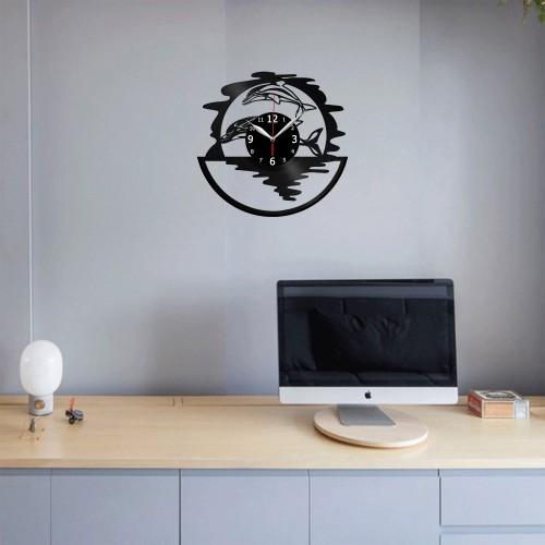 Dolphins Vinyl Record Clock Wall Decor Home Animals Unique Design Handmade